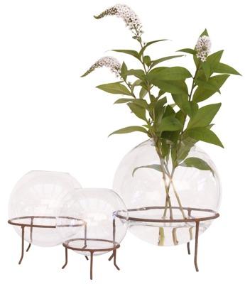 Klotformad skål/vas på stålställning ELDgarden - Vas rund liten