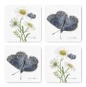 Glasunderlägg 4-set Design Emma Sjödin - Glasunderlägg Präskrage/blåvinge