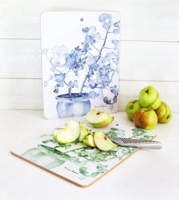 Skärbräda Design Emma Sjödin - Skärbräda blå/grön Pelargon
