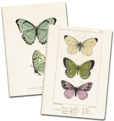Anteckningsbok A5 mixade motiv fjärilar ros Sköna Ting - Anteckningsbok A5 mixade motiv fjärilar ros Sköna Ting