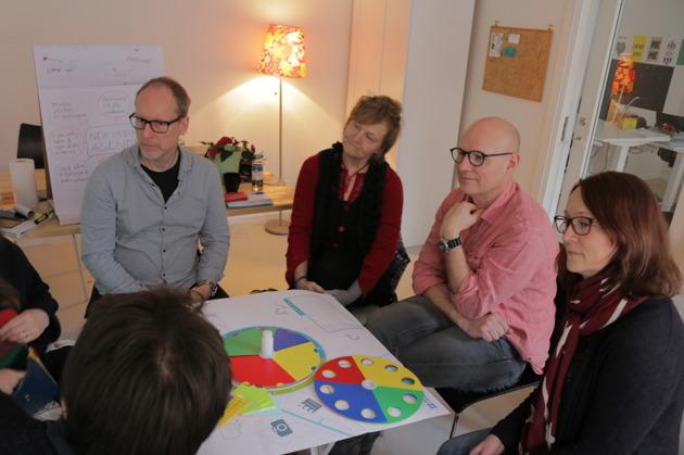 Deltagarna spelar Future City Game.