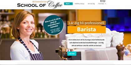 Startsida till hemsidan Schoolofcoffee.se. Ett exempel på en enkel hemsida.