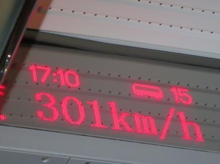 Inne i tåget fanns det en hastighetsmätare så att vi kunde se hur fort tåget körde.