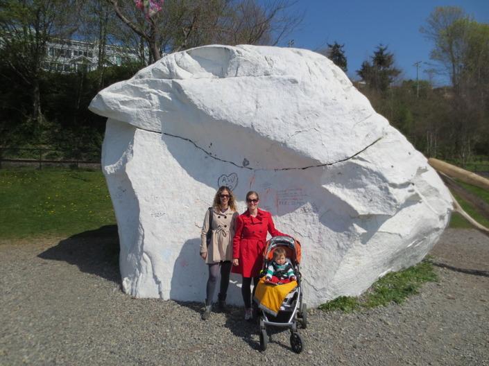 White Rock är döpt efter en stor sten som man tror kom dit med inlandsisen. Den  målas vit en gång i månaden. Det är en plats för grafitti. Där hamnar både namnen på kärlekspar och andra spännande budskap.