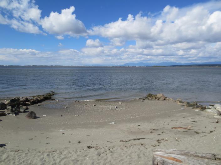 På somrarna är här fullt med badgäster, men det var lite för kyligt för det när vi beökte Crescent beach.