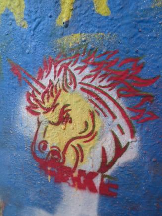 Mitt eget försök till gatukonst, som jag gjorde i graffiti workshopen