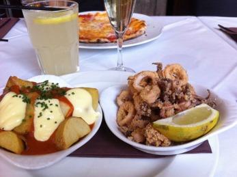 Lunch på Rossini. Deras calamares är så goda.