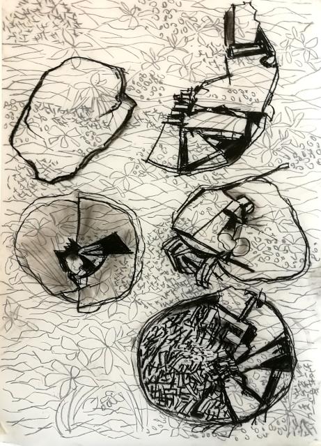 Resonans, 90 x 60 cm, kol på båda sidor av ritfilm (plast)