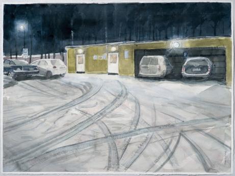 Parkering på Assistentvägen, 60 x 80 cm, akvarell