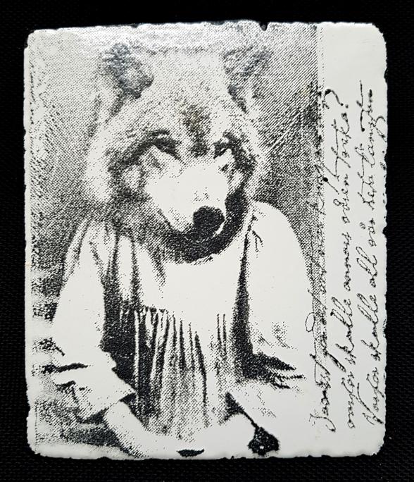 Vargunge, 13 x 15 cm, emalj