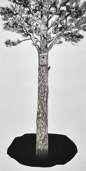 BOET, kolteckning, 150 x 300 cm / Foto: Hans-Olof Utsi
