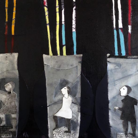 """Överlevarna"", 50x50 cm, Olja/Grafik"