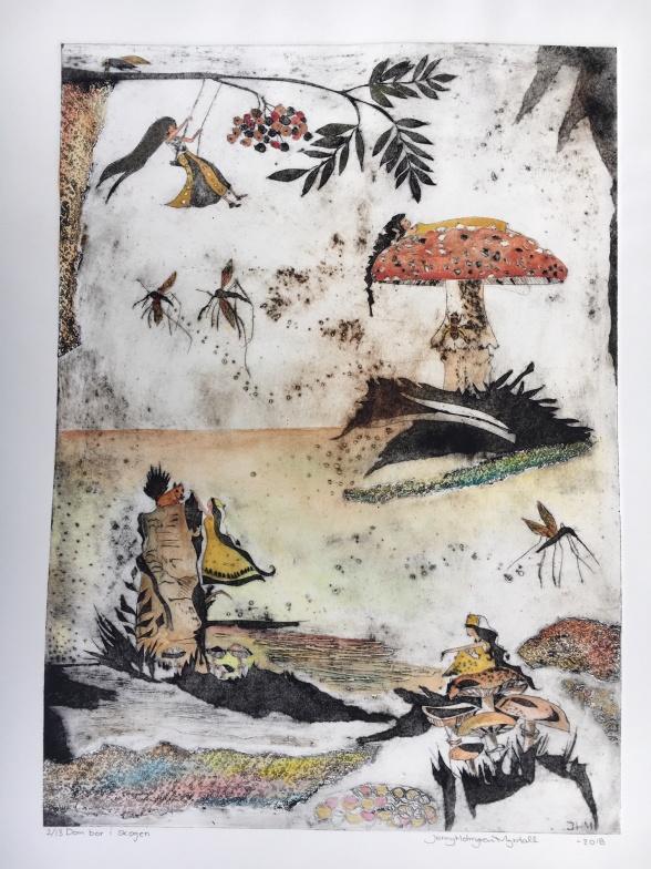 """""""Dom bor i skogen"""", 50x70, Collografi med detaljer i akvarell"""