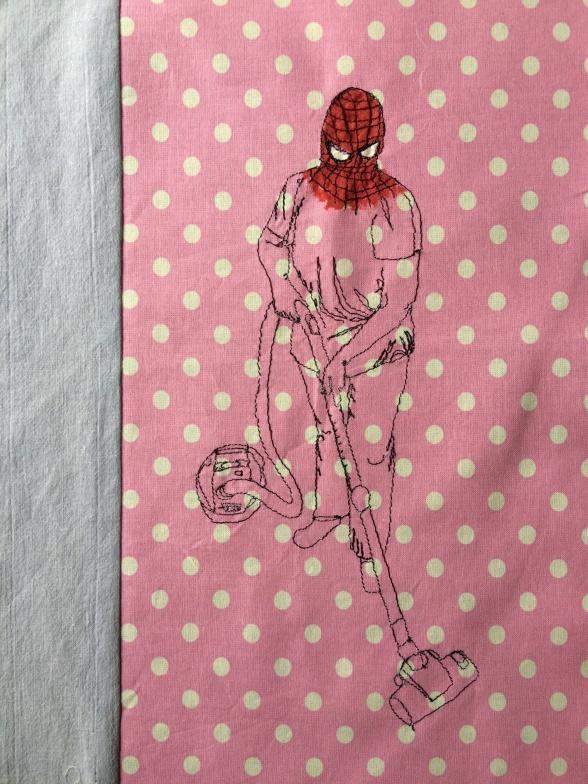 """Superhero"", 42.5x52.5 cm, Broderi/akryl"
