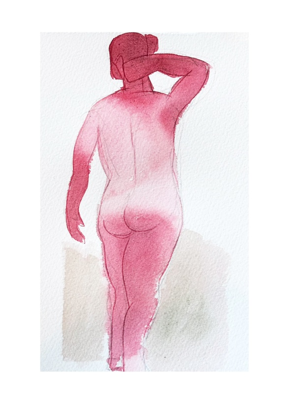 """Pink Body"", 50x70 cm, akvarell"