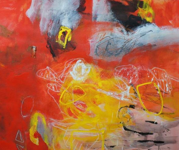 """Upprymd"", 50x70 cm, blandteknik på papper"