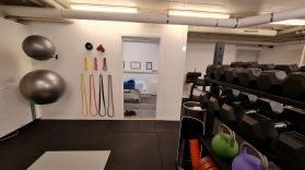 Gummiband, träningsbollar i olika storlekar, handledslindor, lyftarbälte