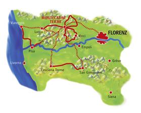 Utflykter med utgångspunkt i Montecatini  240 km (Klicka för större bild).