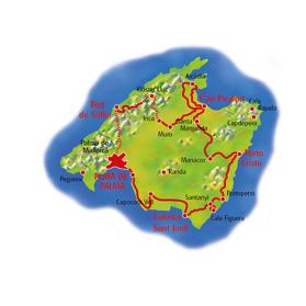 Mallorca Runt 325 km. (Klicka för större bild)