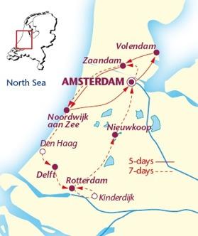 Amsterdam - Volendam - Zaandam -Amsterdam 295 km (Klicka för större bild)