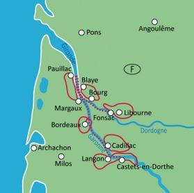 Cykel & Båt Bordeaux ca 170-287 km cykling (klicka för större bild)