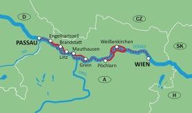 Cykel & Båt Passau-Wien-Passau (Klicka på kartan för större bild)