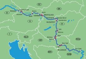 Cykel & Båt Passau-Wien-Bratislava-Budapest-Belgrad-Järnporten-Passau. (Klicka på kartan för större bild)