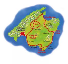 Mallorca kust och inland 325 km. (Klicka för större bild)
