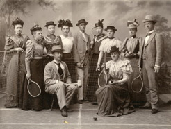 PB and his brother Einar along with young sports enthusiasts in Umeå 1885-90. PB is at the front with croquet mallet.