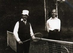 PB playing tennis at Sommarhagen with a nephew.
