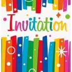 Inbjudningar Rainbow ribbons 8p 18kr