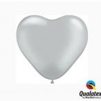 Ballonger 30st 15cm heart silver