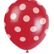 Ballonger Polka dot red 30,48cm 6st 29kr