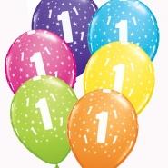 """Ballonger 27,5cm 6st blandade färger """"1"""" 32kr"""