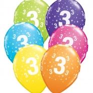 """Ballonger 27,5cm 6st blandade färger """"3"""" 32kr"""