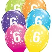 """Ballonger 27,5cm 6st blandade färger """"6"""" 32kr"""