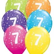 """Ballonger 27,5cm 6st blandade färger """"7"""" 32kr"""