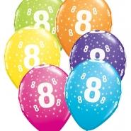"""Ballonger 27,5cm 6st blandade färger """"8"""" 32kr"""