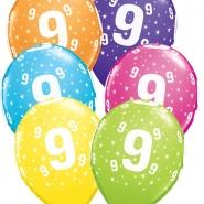 """Ballonger 27,5cm 6st blandade färger """"9"""" 32kr"""