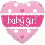 Folieballlong babygirl 45cm 26kr
