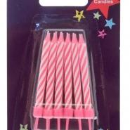 Tårtljus m hållare rosa 12st 8kr