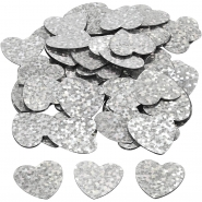 Konfetti hologram silver hjärtan 10g 24kr