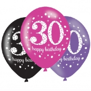 Ballonger 27,5cm 6st Pink celebration 30år 29kr