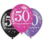 Ballonger 27,5cm 6st Pink celebration 50år 25kr