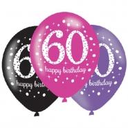 Ballonger 27,5cm 6st Pink celebration 60år 25kr
