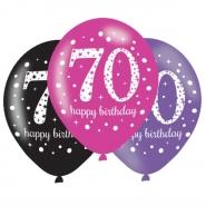 Ballonger 27,5cm 6st Pink celebration 70år 25kr