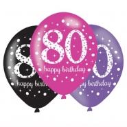 Ballonger 27,5cm 6st Pink celebration 80år 29kr