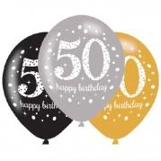 Ballonger 27,5cm 6st gold celebration 50år 29kr