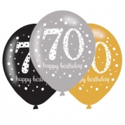 Ballonger 27,5cm 6st gold celebration 70år 29kr