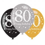 Ballonger 27,5cm 6st gold celebration 80år 29kr